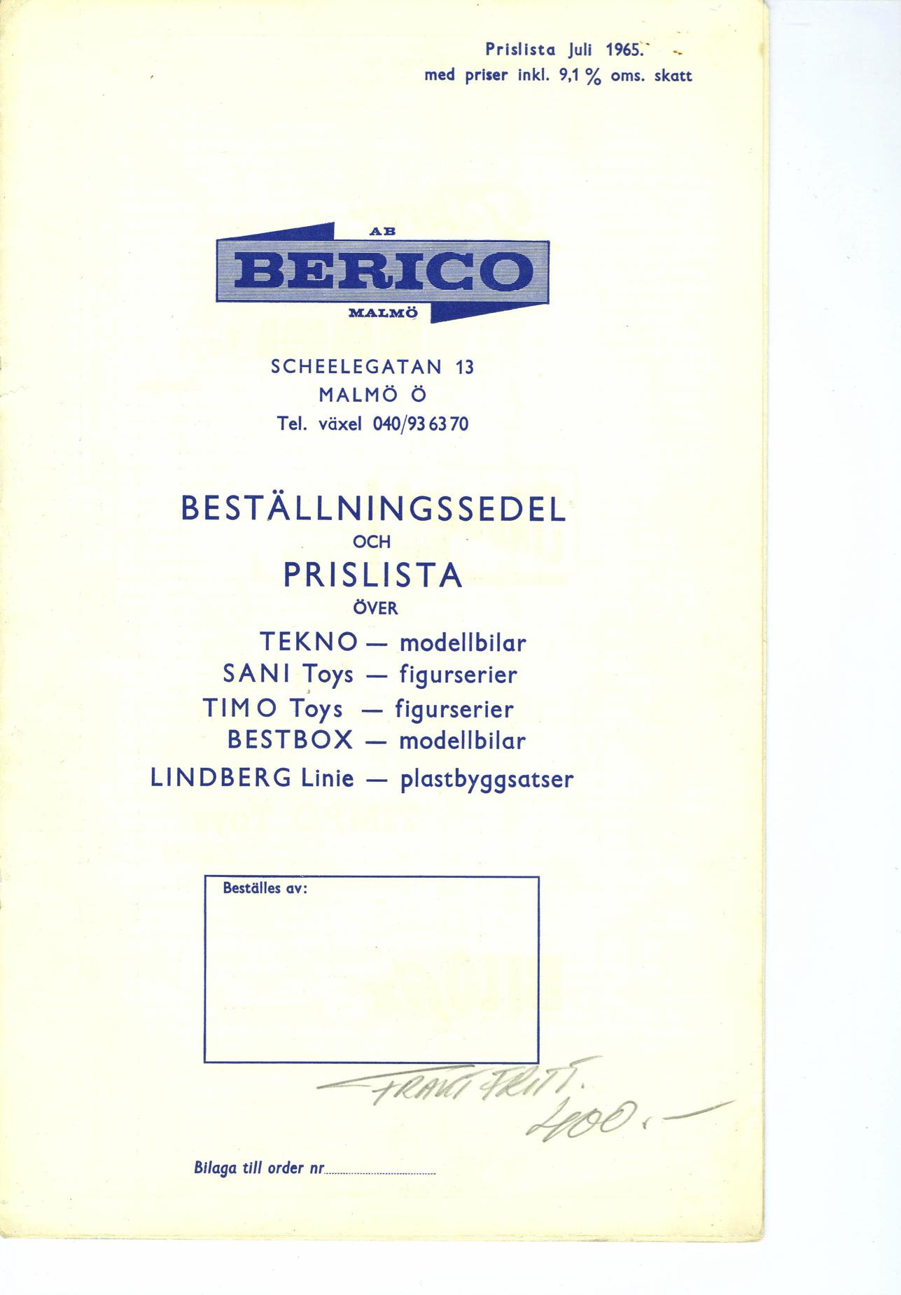 Berico bestillingsliste
