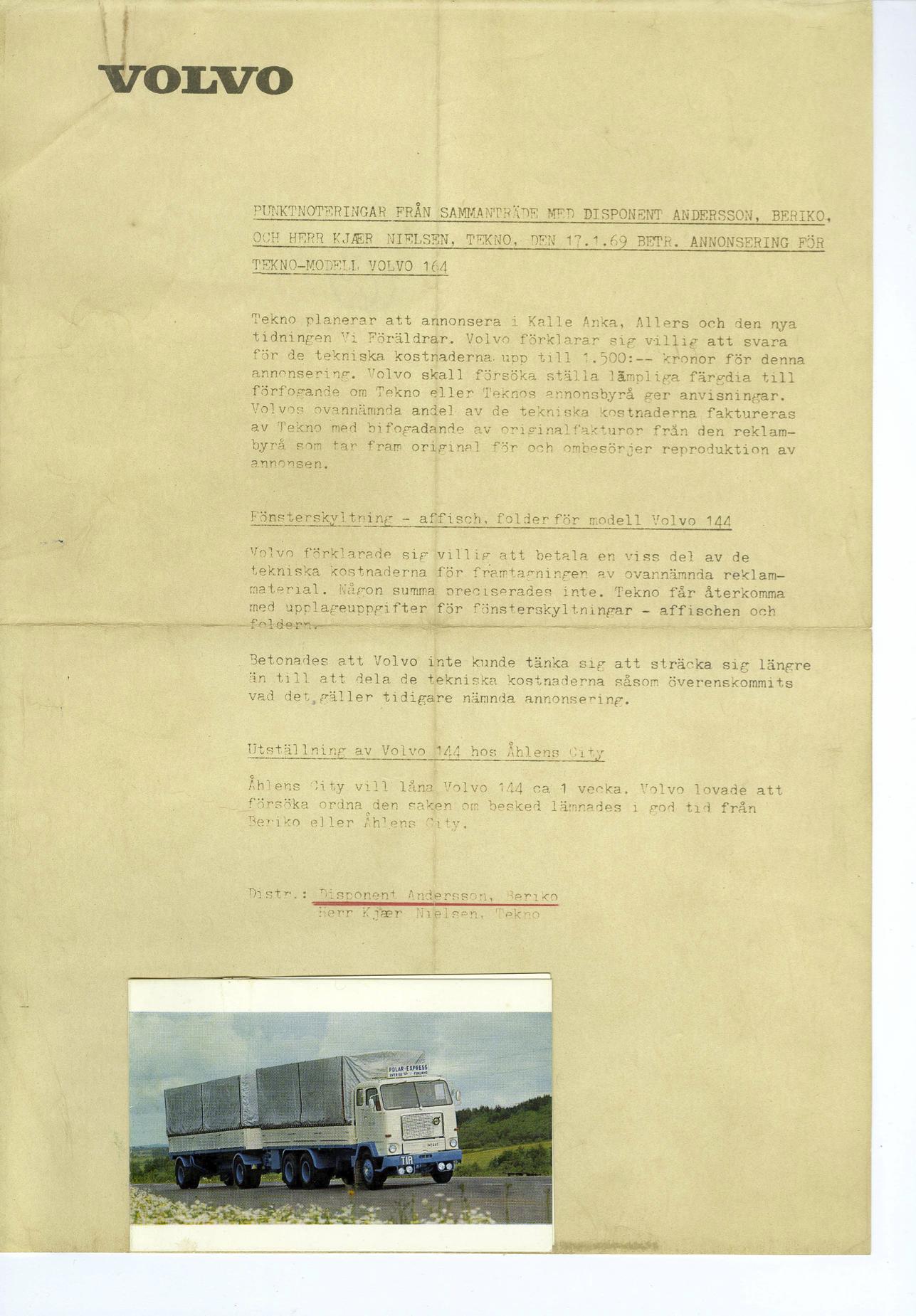 Berico brev Volvo