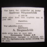 Siegumfeldts dødsannonce